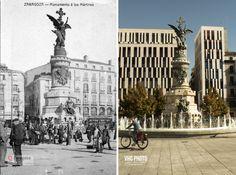 VHG Photo - Comparativa pasado y presente, Plaza de España, Zaragoza
