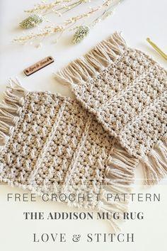 Crochet Home, Crochet Gifts, Free Crochet, Knit Crochet, Thread Crochet, Mug Rug Patterns, Knitting Patterns, Boho Crochet Patterns, Doily Patterns
