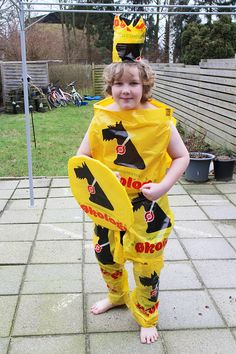 costume recycling bag homemade son net fun yellow