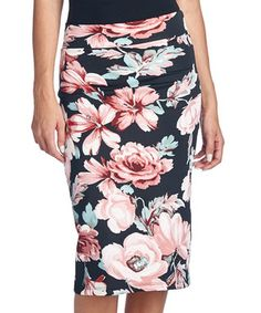 Light Pink Floral Pencil Skirt