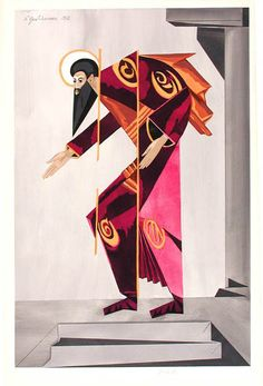 Natalia Goncharova costume design for an Apostle in the ballet for Diaghilev, 'Liturgy'.