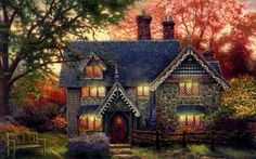 My other Kinkade favorite. If I could just make this into a Gingerbread house...Hmmm