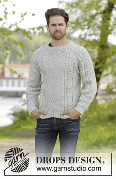 Knitted DROPS men's jumper with cables, raglan and folding edge at the neck in Karisma. Size: S - XXXL.