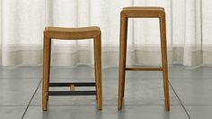 @ drinkery  Folio Top-Grain Leather Backless Bar Stools | Crate and Barrel