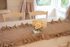 Ruffle burlap runner! So country chic! Thinking about a burlap ruffled table cloth.