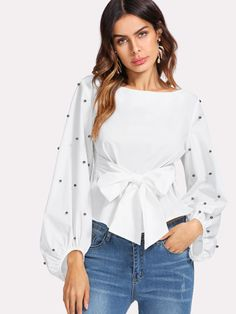 SheIn offers Pearl Beaded Bishop Sleeve Belted Top & more to fit your fashionable needs. Stylish Outfits, Cute Outfits, Fashion Outfits, Womens Fashion, Fashion Trends, Blouse Styles, Blouse Designs, Sleeve Designs, Couture Tops