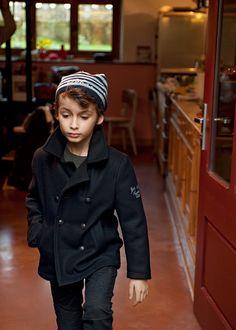 black pea coat + striped beanie via where the wild kids are IKKS Little Boy Fashion, Kids Fashion, Amusement Enfants, Black Pea Coats, Stylish Kids, Kid Styles, Little Boys, Cute Kids, Boy Outfits