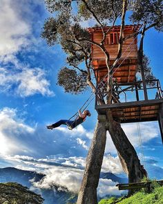 Casa Del Arbol- The swing at the End of the World! Overlooking the Tungurahua Volcano 8,700 feet in the Andes. -Baños, Ecuador