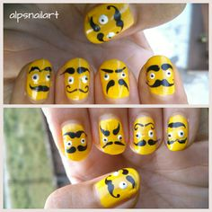 This cool #Moustachenail art is done using #Moyou London Rebel collection plate 1 The fun part of this #nailart is that faces look cool ven when upside down ;)
