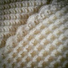 Just finished edging my waffle stitch blanket #wafflestitch #blanket #crochet…