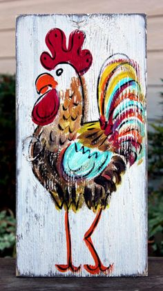 Rustic Rooster Painting in Buttermilk for BourbonandBoots.com