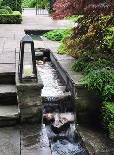 Subtle water feature integrated into the paving level change. Pinned to Garden Design - Water Features by BASK Landscape Design. Small Water Features, Water Features In The Garden, Landscape Design, Garden Design, Small Front Gardens, Garden Fountains, Garden Ponds, Garden Stream, Outdoor Fountains
