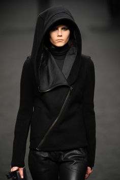 hooded jacket with leather pants
