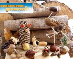 animal crafts w/ pinecones & nuts
