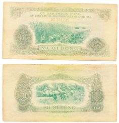Vietnam lot 6 bank notes of 10 dong 1963 pick# R7 NLF