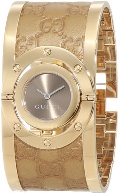 57c1a62e47a Gucci Women s YA112434 Twirl Gold Guccissima Leather Bangle Watch  http    watches.