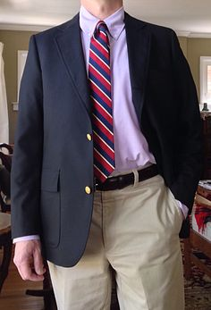Brooks Brothers 3/2 blazer and purple OCBD, Ralph Lauren Polo silk tie, Brighton belt, Orvis khakis.