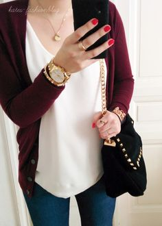 loose white tee, burgundy cardigan and jeans