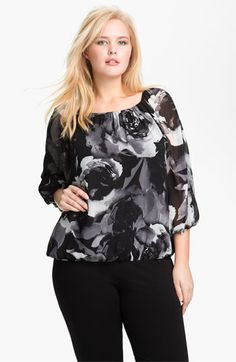 Vince Camuto Print Split Sleeve Blouse (Plus) available at #Nordstrom