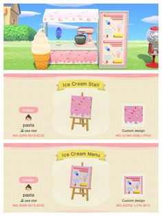 animal crossing new horizons acnh custom design code simple panel ice cream stall cafe