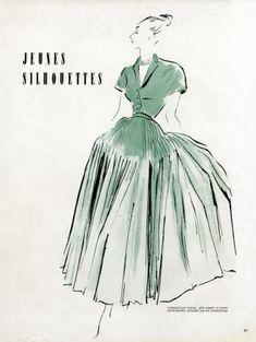 Christian Dior 1947 Pierre Simon Fashion Illustration