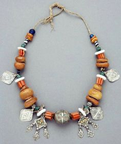 Morocco | Necklace; silver, amber, enamel, coral, shell, stone and glass beads | African Museum (Belgium) Collection; acquired 1984