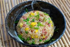 Bowl of spam fried rice, side view (i'd use ham)