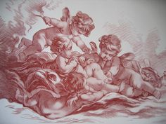 Boucher Cupids Dove French 1870 Engraving Print Cupid Cherub Large Format, www.rubylane.com/shop/victorianroseprints