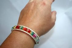 Beaded wrap bracelet  rainbow crackle glass  teen by mvtreasures, $10.00