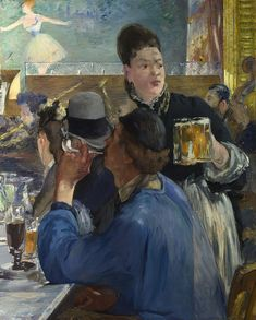 Waitresses working in brasseries were new to Paris at the time Manet painted this scene. This was originally the right half of a painting before the artist cut it in half. 'Corner of a Café-Concert' by Édouard Manet –⠀ Claude Monet, Edouard Manet, Renoir, Cafe Concert, Berthe Morisot, Oil On Canvas, Canvas Prints, Canvas Art, Painting Canvas