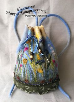 Handmade felted backpack, Wool backpack with flowers, Woman bag