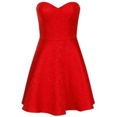 Chi Chi London Lace bandeau party dress ($30) ❤ liked on Polyvore featuring dresses, vestidos, short dresses, red, sale, red lace dress, lace cocktail dress, lace mini dress, floral skater dress and red lace cocktail dress