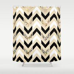 Black, White & Gold Glitter Herringbone Chevron on Nude Cream Shower Curtain.