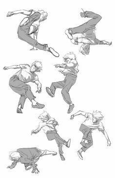 How to draw break dancing poses