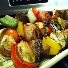Tangy Almond Chicken Kabobs    http://allrecipes.com/Recipe/Tangy-Almond-Chicken-Kabobs/Detail.aspx