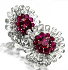 Viren Bhagat ruby and diamond earrings