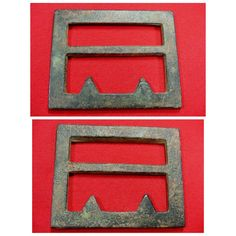 """A beautiful condition, excavated, """"super heavy,"""" triangular teeth, Georgia Frame Confederate waist belt plate.  This buckle was recovered from a Confederate Camp on private property near Savannah, Georgia, and has a pretty green patina."""
