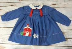 Vintage 80s Toddler Girl Sailor Dress Blue School House Teddy Bears size 2T #Unbranded #Casual