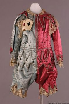 Vintage Costumes From Outlander Onwards - ephemeral-elegance: Child's Jester Costume, ca. - ephemeral-elegance: Child's Jester Costume, ca. via Henry Ford Costume Collection (via victoriamorous) Vintage Circus Costume, Vintage Costumes, Jester Costume, Costume Dress, Jester Outfit, Theatre Costumes, Ballet Costumes, Historical Costume, Historical Clothing