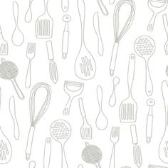 York Wallcoverings Bistro 750 Silhouettes 33' x 20.5'' Food and Beverage Foiled…
