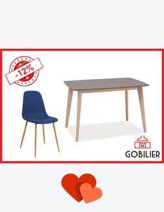 Luna iubirii la #Gobilier. Reducerile sunt la ele #acasa luna asta. Cauti mese si scaune #designscandinav ? Sunt la noi! Set #masa fixa 128/80, blat #gri din #mdf si 4 scaune #albastru roial la 1345 lei. Vino sa le duci acasa! Vezi toate promoțiile pe www.gobilier.ro/promoții #☎️ 0748048048 #📧 contact@gobilier.ro   💏😍 Dining Chairs, Furniture, Design, Home Decor, Decoration Home, Room Decor, Dining Chair, Home Furnishings