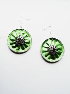 2in1 Nespresso coffee capsules earrings, Green spring earrings