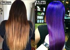 Purple & blue vivids ombre hair color