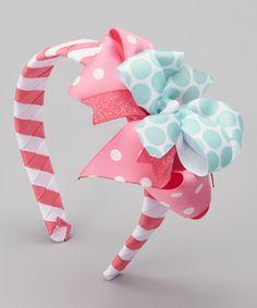 Look at this Waistin' Away Pink & Blue Polka Dot Headband & Hair Bow on #zulily today!