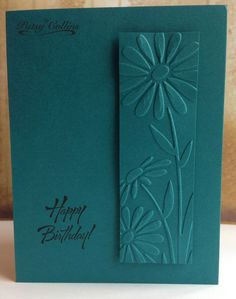 """Dry embossing as the focal image. Folder is Darice """"Large Daisy."""" This is just a single card shown but using this idea, would make for cute cards sets."""