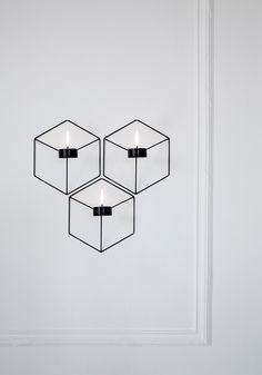 POV wall-mounted and table-top wire candle holders with optical illusion by Note Design Studio of Sweden for Danish design brand Menu. Design Shop, Note Design Studio, Notes Design, Menu Design, Diy Wall Lamp, Tea Lights, Wall Lights, Chandeliers, Wall Candle Holders