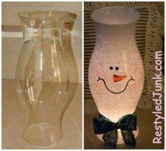 of the Best DIY Christmas Decorations - Viral Slacker - Christmas Gift Ideas - DIY Snowman Hurricane Shade - Snowman Crafts, Christmas Projects, Decor Crafts, Holiday Crafts, Holiday Fun, Christmas Ideas, Cheap Christmas, Festive, Home Decor