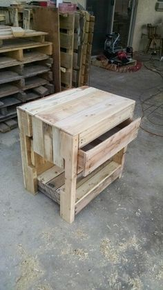 Pallet wood nightstand.