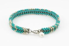 SALE 20% Beadwork bracelet turquoise and silver seed by IevaMinde
