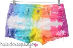 I want to do this to some white shorts!! Tie Die Party!!!!!!  Dyed Denim DISTRESSED Low by kaleidoscopeeyesvtg
